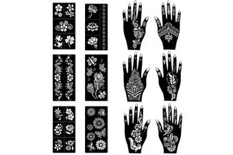 (12 Sheets) - COKOHAPPY Stencils for Henna Tattoos (12 Sheets) Self-Adhesive Beautiful Body Art Temporary Tattoo Templates, Henna, Flower, Butterfly Designs