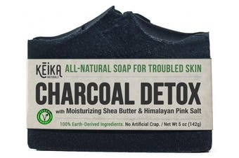 Charcoal Soap Bar with Shea Butter for Face, Acne, Eczema, Psoriasis | 100% All-Natural Vegan. Fragrance-Free. Non-GMO. Handmade. Facial Cleanser Black Soap for Oily Skin. 150ml