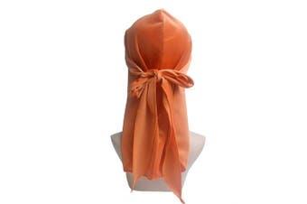 (Orange) - Premium Velvet Durag 360, 540,720 Waves Extra Long Tail and Wide Straps for Men Du-RAG