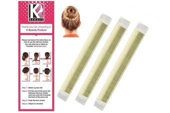 Women's Hair Bun Maker French Twist Hair Fold Wrap Snap by K-Beauty (3 Blonde)