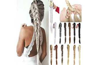 FLORATA 50cm Claw Jaw Braiding Hair Clip in Hair Extensions Synthetic Fishtail Braid Ponytail Extension with a Claw/Jaw Clip for Women Beauty and Fashion