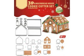 (3D HOUSE) - Cookie Cutter Set Stainless Steel Cake Biscuit Cookie Cutter Mould DIY Baking Pastry Tool Bake Your Own Small Gingerbread House Kit