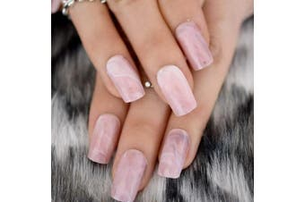 EchiQ Square Head False Nails Tips Pink Marble Texture Fake Nail Acrylic Nails Full Wrap Artificial Nail Tips