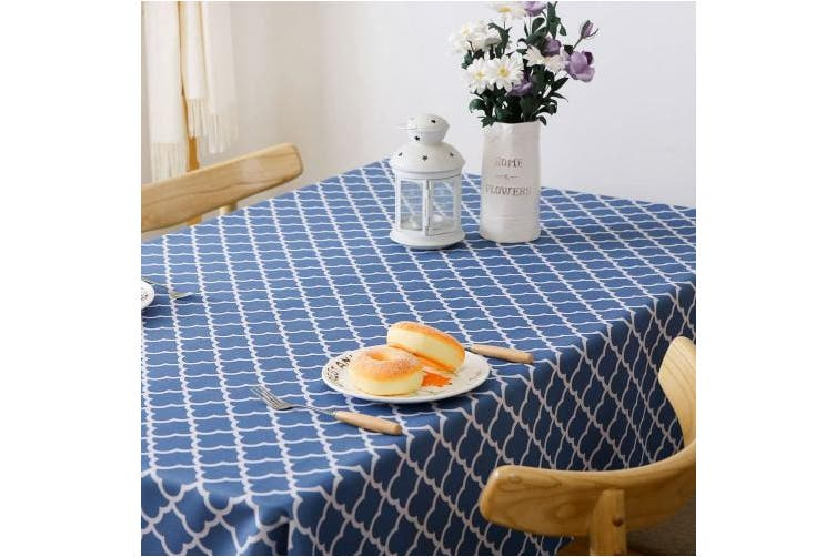 Rectangle Oblong 150cm X 260cm Stone Blue Colorbird Elegant Trellis Tablecloth Waterproof Spillproof Polyester Fabric Table Cover For Kitchen Dinning Tabletop Decoration Rectangle Oblong 150cm X 260cm Stone Blue Matt Blatt