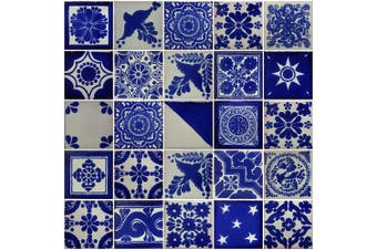 Colour y Tradicion 25 Hand Painted Decorative Talavera Mexican Tiles 5.1cm x 5.1cm White and Blue