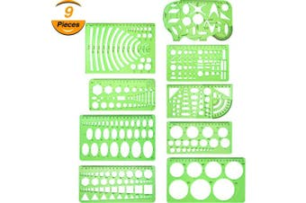Hestya 9 Pieces Drawings Templates Measuring Geometric Rulers Plastic Draught Rulers for School Office Supplies, Clear Green