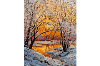 (Wooden Framed, Snow Dusk) - ABEUTY DIY Paint by Numbers for Adults Beginner - Snow Trees Dusk 41cm x 50cm Number Painting Anti Stress Toys (Wooden Framed)
