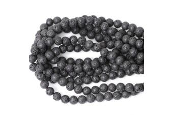 (10mm, Lava stone) - CHEAVIAN 10mm 35PCS Black Lava Volcanic Stone Gemstone Round Loose Beads for Jewellery Making 1 Strand 15""