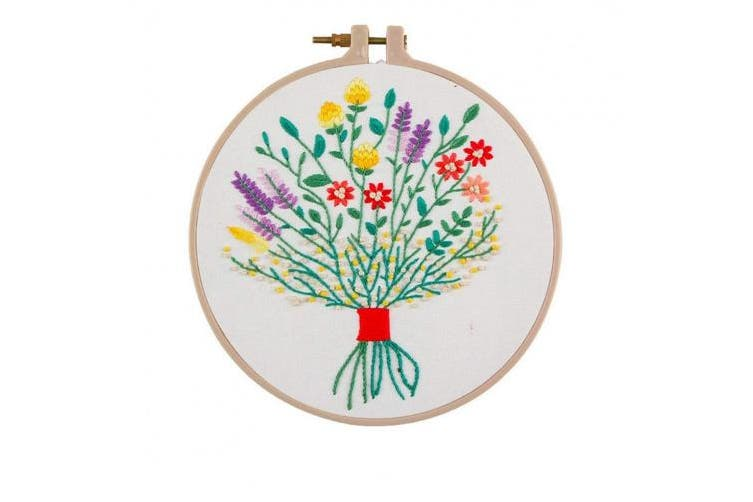 (The flowers are blooming) - Cross Stitch Stamped Embroidery Kit - Eafior The Flowers are Blooming Design DIY Beginner Counted Starter Contain Embroidery Hoops Cross Stitch Hoop Circle Set for Art Craft Handy Sewing
