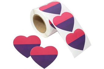 (Heart Bisexual) - Love Pride Stickers Heart Shaped Roll Tape 250 Stickers Gay Pride Support LGBT (Heart - Bisexual)