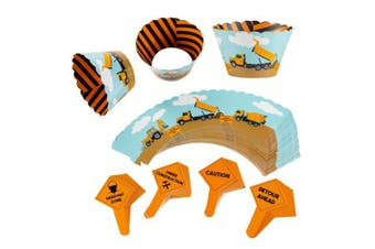 Construction Cupcake Toppers and Liners - 100-Piece Construction Zone Cupcake Wrappers Baking Supplies, Kids Birthday Party Favours for Cake and Muffin Decorations, Orange, Black, and Blue