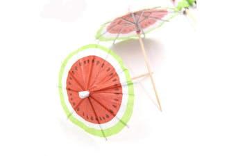 Bilipala 50 PCS Watermelon Paper Umbrellas Fruits Cocktail Dessert Parasol Picks Party Cupcake Toppers Picks Decoration