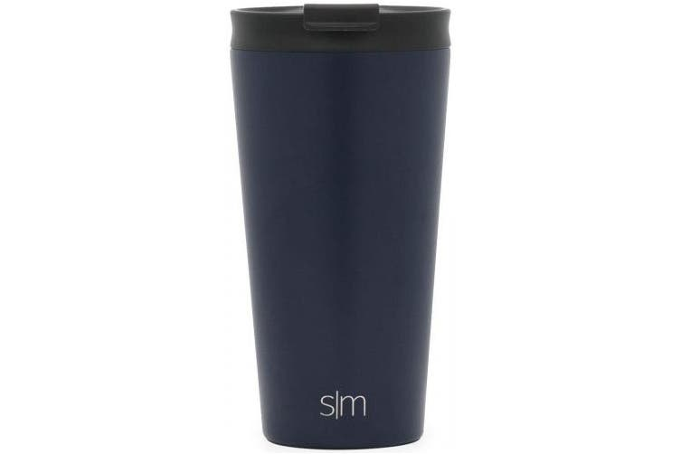 (470ml Classic Tumbler, Deep Ocean) - Simple Modern 470ml Classic Pint Tumbler Mug with Straw Lid and Flip Lid - Vacuum Insulated Beer Glasses Tumbler Flask 18/8 Stainless Steel Hydro Thermos Cup - Deep Ocean