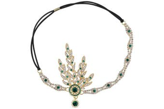 (Green) - Babeyond Art Deco 1920's Flapper Great Gatsby Inspired Leaf Medallion Pearl Headpiece Headband (Green)