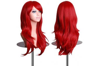 (Red) - AneShe Wigs 70cm Long Wavy Hair Heat Resistant Cosplay Wig for Women (Red)