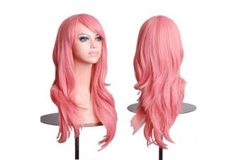 (Pink) - AneShe Wigs 70cm Long Wavy Hair Heat Resistant Cosplay Wig for Women (Pink)