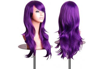 (Puprle) - AneShe Wigs 70cm Long Wavy Hair Heat Resistant Cosplay Wig for Women (Puprle)
