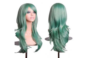 (Green) - AneShe Wigs 70cm Long Wavy Hair Heat Resistant Cosplay Wig for Women (Green)