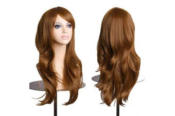 (Light Brown) - AneShe Wigs 70cm Long Wavy Hair Heat Resistant Cosplay Wig for Women (Light Brown)
