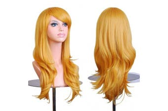 (Yellow) - AneShe Wigs 70cm Long Wavy Hair Heat Resistant Cosplay Wig for Women (Yellow)