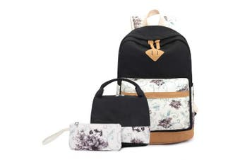 (Floral Black Set) - Abshoo Lightweight Canvas Cute Girls Bookbags for School Teen Girls Backpacks With Lunch Bag