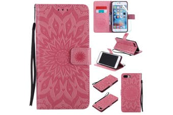 (iPhone 7 Plus / 8 Plus, Pink) - NOMO iPhone 8 Plus Case with Screen Protector,iPhone 7 Plus Wallet Flip Case PU Leather Emboss Mandala SUN Flower Folio Magnetic Kickstand Cover with Card Slots for iPhone 8 Plus/7 Plus 14cm Pink