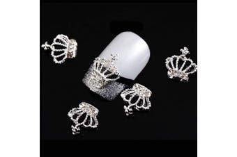 (Crown(3pcs)) - Lookathot 3PCS 3D Heart Bowknot Crown Nail Art Decals Metallic Silver Studs Rhinestones Diamonds Pearls Drills Alloy Manicure DIY Decoration Tools (Crown(3pcs))