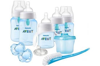 (Blue) - Philips Avent Anti-Colic Baby Bottle with AirFree Vent Beginner Gift Set Blue, SCD393/05