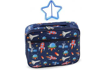 (Outer Space) - Lunch Box Outer Space Rocket Ships in Dark Navy Blue with Matching Sandwich Cutter (Outer Space)