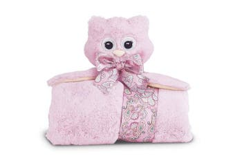 (Pink Hoots Owl) - Bearington Baby Lil' Hoots Cuddle Me Sleeper, Pink Owl Large Size Security Blanket, 70cm x 70cm