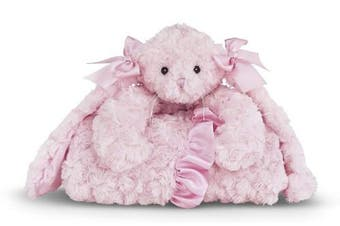 (Pink Cottontail Bunny) - Bearington Baby Cottontail Cuddle Me Sleeper, Pink Bunny Large Size Security Blanket, 70cm x 70cm