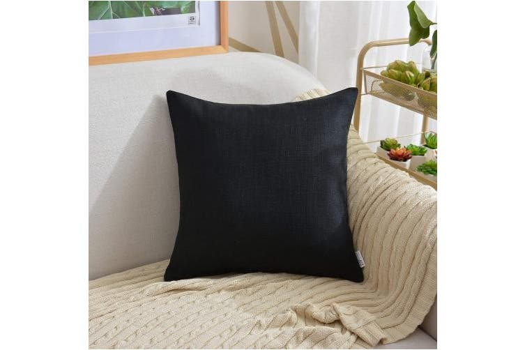(60cm  x 60cm , Black) - NATUS WEAVER Supersoft Faux Linen Square Throw Cushion Cover Pillowcase for Bedroom Living Room,with Hidden Zipper, 60cm x 60cm , Black