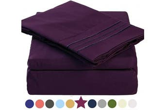 (King, Purple) - TEKAMON King Bed Sheet Set Cooling 100% Microfiber Polyester Extra Deep Pocket Fitted Sheet Breathable And Hypoallergenic Flat Sheet 4 Piece Purple