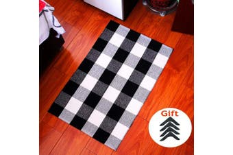 (60cm  x 90cm ) - Winwinplus 100% Cotton Black and White Plaid Rug,Hand-woven and Washable, Throw Rugs,60cm x 90cm ,Plaid rug for bathroom/living room/lounge,Free 4PCS Non-Skid rug pads Carpet Gripper
