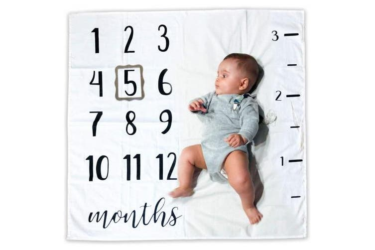 Baby Monthly Milestone Blanket | 100% Organic Cotton | Includes Picture Frame and Ruler | 1 to 12 Months | Best Baby Shower Gift | Photography Backdrop Photo Prop for Newborn Boy & Girl