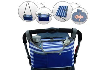 Universal Baby Stroller Organiser with Cup Holder & Portable Changing Pad by BlueSnail (Blue)
