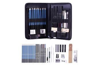(40-piece) - H & B Sketching Pencils Set Drawing and Sketch Kit 40-Piece Set with Pencils, Erasers, Graphite Stick, Sandpaper Block, Pencil Sharpener