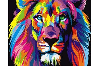 (Wooden Framed, Colorful Lion) - ABEUTY DIY Paint by Numbers for Adults Beginner - Colourful Lion Head 41cm x 50cm Number Painting Anti Stress Toys (Wooden Framed)