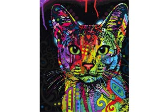 (Wooden Framed, Colorful Cat) - ABEUTY DIY Paint by Numbers for Adults Beginner - Colourful Cat Head 41cm x 50cm Number Painting Anti Stress Toys (Wooden Framed)