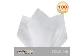 (White) - 38cm X 50cm Gift Wrap Tissue Paper - 100 Sheets by PMLAND (White)