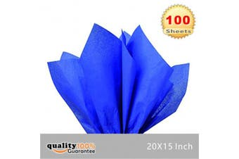 (Blue) - 38cm X 50cm Gift Wrap Tissue Paper Blue- 100 Sheets by PMLAND