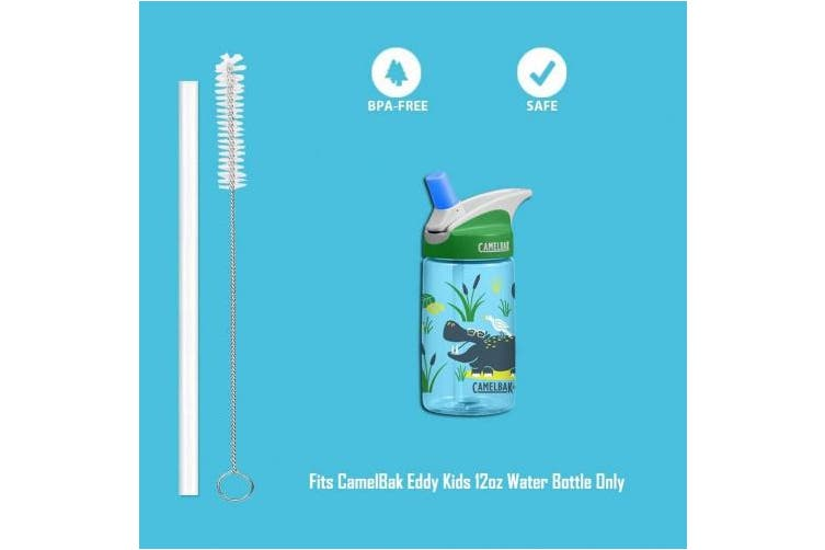 Replacement Straws for CamelBak Eddy Kids 350ml Water Bottle, Reusable Replacement Drinking Straws Accessory for CamelBak,4 BPA-FREE Straws and 2 Straw Cleaning Brushes,by FavorGear