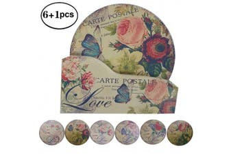 "(4.3""-NO.4 Butterfly Flowers) - NewFerU Hot Pad Coasters Pot Trivet Set with Holder (11cm -NO.4 Butterfly Flowers)"
