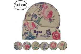 "(5.9"" NO.5 China Rose) - NewFerU Hot Pad Coasters Pot Trivet Set with Holder (15cm NO.5 China Rose)"