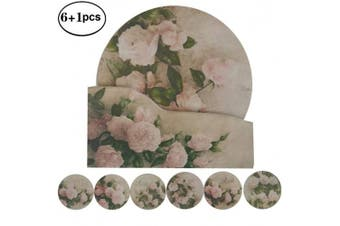 "(5.9"" NO.4 Roses) - NewFerU Hot Pad Coasters Pot Trivet Set with Holder (15cm NO.4 Roses)"