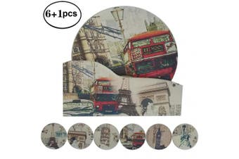 "(4.3"" NO.1-Cities) - NewFerU Hot Pad Coasters Pot Trivet Set with Holder (11cm NO.1-Cities)"