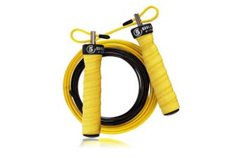 (yellow) - 5BILLION Speed Jump Rope - Nature Handle - Adjustable with Ball Bearings - Workout for Double Unders, WOD, Outdoor, MMA & Boxing Training