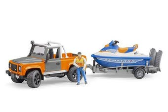 Bruder 2599 Land Rover Defender Pick up with Trailer/Personal Water Scaled Model Vehicle Toy, Multi-Colour