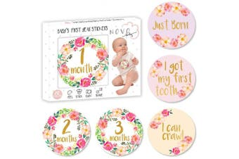Baby Girl Monthly Milestone Stickers | Birth to 12 Months + 8 Bonus Achievement Stickers | Set of 20 Floral Gold Stickers | Best Baby Shower Gift