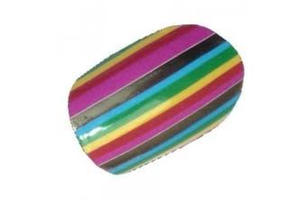 Chix Nails Stripes Beauty False Stickers Fingers Toes Vinyl Foils Nail Wraps, Zingy Rainbow Colour Stripes